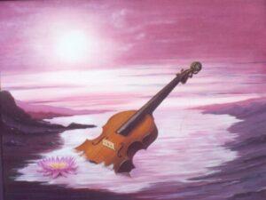 violon à demi immergé