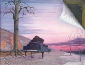 Un piano sur une terrasse perdue dans la nature